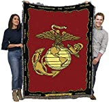 US Marine Corps - Emblem - Cotton Woven Blanket Throw - Made in The USA (72x54)