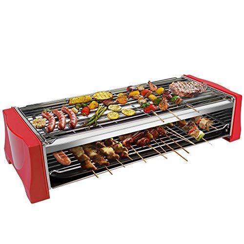 Tischgrill Elektrisch Barbecue - Elektrogrill Holzkohle 2200W Raclette Grills Elektro Grill Standgrill für Balkon Einstellbare Temperatur Grillnetz aus Edelstahl Geeignet für Drinnen Draußen Party
