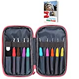 Ergonomic Crochet Hooks Knitting Set with Case and Crochet Accessories for Arthritic Hands Beginner Crocheter, 9pcs Crocheting Needles with Comfortable Grip Handles for Any Patterns and Chunky Yarns