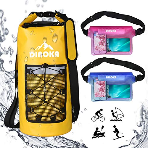 DINOKA Bolsa Seca Impermeable, Bolsas estancas 10L/20L/30L con Caja de teléfono Impermeable Gratis,Dry Bag wateroof para Rafting, Kayak navegación Senderismo, esquí, Buceo, Pesca, Escalada, Camping