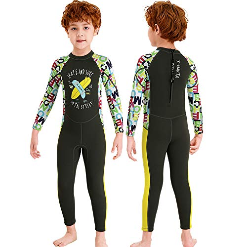 NATYFLY Kids Wetsuit,2.5mm Neoprene Thermal One Piece Swimsuit,Boys Girls and Toddler Wet Suits for Scuba Diving,Youth Full Suit (Dark Green, Medium/3-4Years Old)