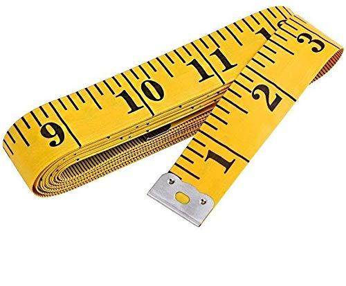 A1SONIC® 150 cm weiches Maßband zum Nähen von Stoff, Taille, BH, Kopfumfang, Schneidern, doppelseitiges Stofflineal (gelb)