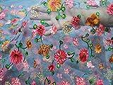 Tela bordada de red gris floral bordado indio Saree Manualidades costura vestido de boda tela