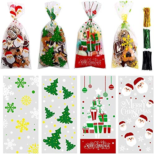 LOKIPA 200 Pcs Christmas Cellophane Treat Bags, Xmas Clear Cello Gift Bags Candy Goodies Bags with Twist Ties for Christmas Party Supplies