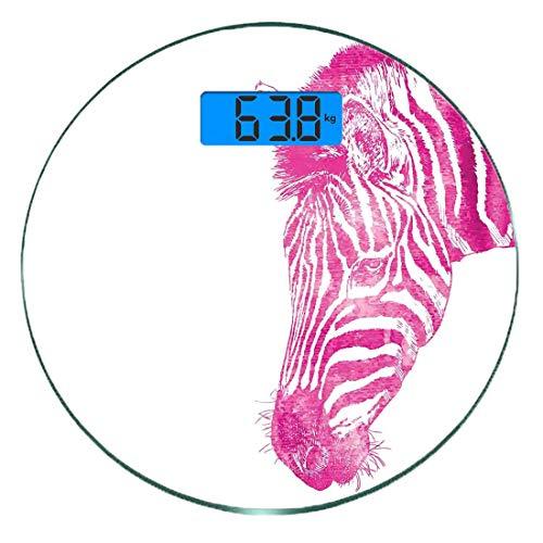 Bilancia digitale di precisione tondo Zebra rosa Misurazioni accurate del peso della bilancia pesapersone in vetro ultra sottile,Testa di Zebra Ritratto vibrante Acquerello Acquerugiola torbida Stampa