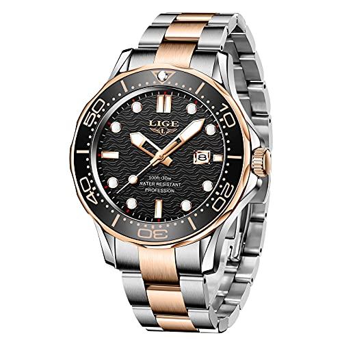 LIGE Herren Uhren Luxus Mode Wasserdicht mit Kalender Edelstahl Leuchtende Business Sport Analog Quarz Armbanduhr für Männer Schwarz Gold