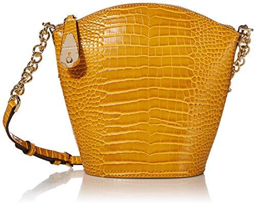 Calvin Klein Statement Series Lock Daytonna Leather North/South Top Zip Crossbody, Marigold Croco