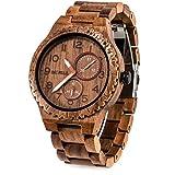 BEWELL Mens Wood Watch Quartz Analog Date Display Luminous Retro Handmade Wooden Wristwatch for Men (Walnut)