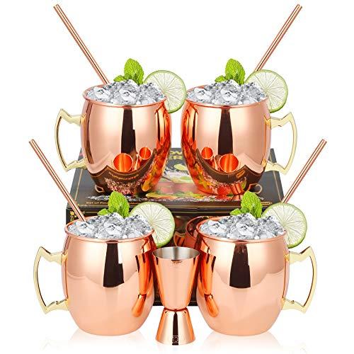 Hossejoy Moscow Mule Becher 4er Set, Kupferbecher mit 4 Trinkhalme & 1 Messbecher in Geschenkbox, Glatte Oberfläche, Seine & Ihr Geschenk für Zuhause, Bar, Party