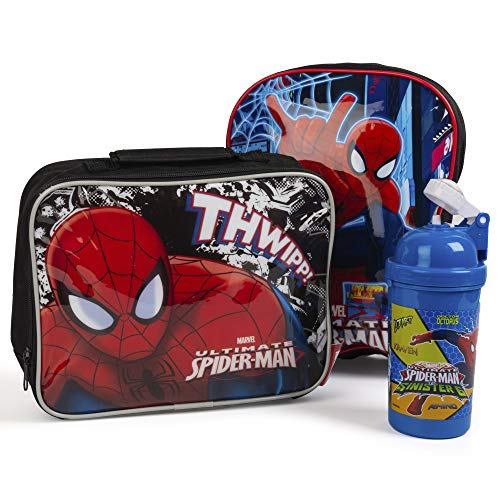 Spiderman Kids Back to School Bundle Bags Backpack, Drinks Bottle and Lunch...