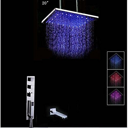 """GOWE LED Color Changing Ceiling Mounted Square Rain Shower Head Faucet Set 3 Thermostatic Valve Mixer Tap Hand Shower/Tub Spout 20"""""""