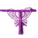 1X紫 女性 Gストリング ひもセクシーフロントバタフライデザインなショーツランジェリー下着 パンツ