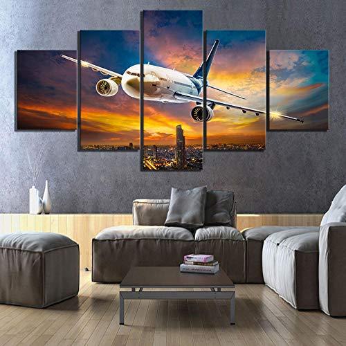 HNSYZS Pintura 5 Paneles Moderno Cuadro Cielo Puesta de Sol Aeropuerto avión avión de pasajeros Paisaje de Pared diseño artísticos para Interiores