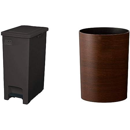 アスベル エバンペダルペール45L SD ブラウン & 木目調ゴミ箱S 「ルクレールコレクション」 4.7L ブラウン【セット買い】
