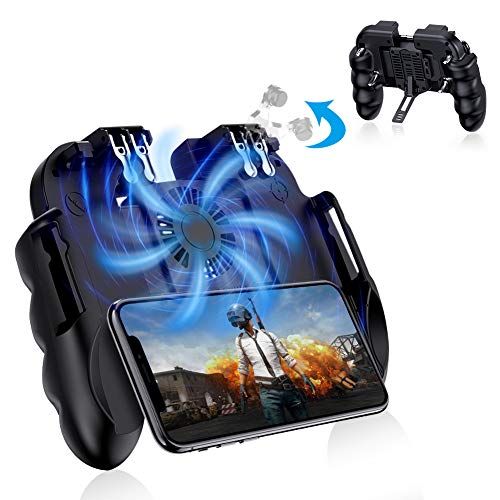 Achort Mobile Game Controller for PUBG, 6 Finger Trigger L1R1 L2R2 zielender Schießauslöser Gamepad mit Lüfter für Battle Royale/Knives Out für 4-6,5