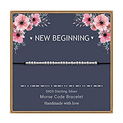 Amazon - Save 80%: MONOZO Morse Code Bracelets for Women, S925 Sterling Silver Beads Mor…