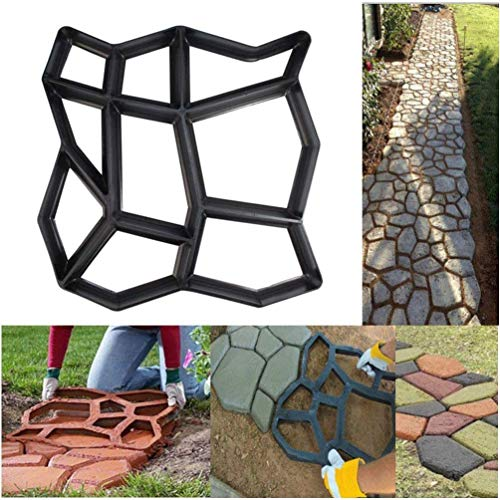 SuperThinker DIY Walk Maker Concrete Molds, Pathmate Stone Mold Paving Pavement Concrete Mould Stepping Stone Paver Walk Way for Garden, Patio, Yard(13''x13'')