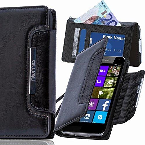 numia Nokia Lumia 530 Hülle, Handyhülle Handy Schutzhülle [Book-Style Handytasche mit Standfunktion & Kartenfach] Pu Leder Tasche für Nokia Lumia 530 Hülle Cover [Schwarz]