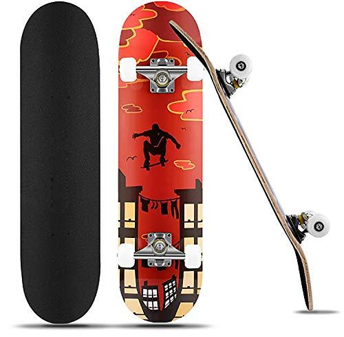 Skateboard Komplettboard31 x 8 Zoll für Kinder Jugendliche Erwachsene Anfänger, 9 Lagiger kanadischen Ahorn mit ABEC-7-Kugellagern hochelastischen PU-Rädern bis 100Kg unterstützt (rot)