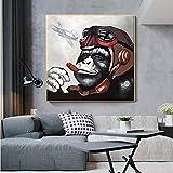 Geiqianjiumai Art Monkey Gorilla Smoking Casco Animal Poster y Mural Lienzo Arte de la Pared Cuadro sin Marco Pintura 70x70cm