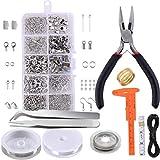 Healifty Suministros de Joyería Kit Material de Metal Collares Pulseras Aretes Accesorios para El Cabello Diy Hacer Set de Manualidades