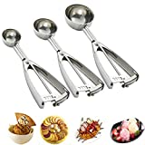 Cookie Scoop Set - Cookie Scoops for Baking - 3 PCS Cookie Dough Scooper - Ice Cream Scoop with Trigger - Made of 18/8 Stainless Steel