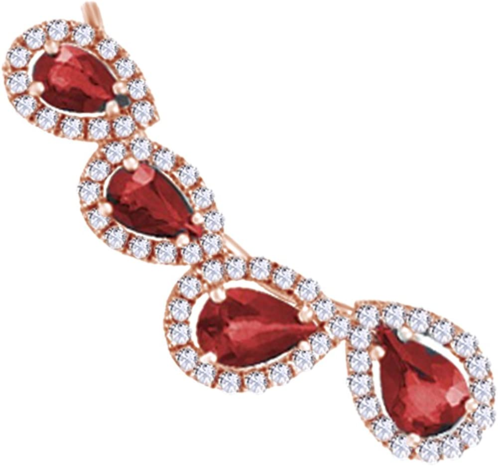 Simulated Garnet With Diamond Accent Single Earring In 14K Solid Gold