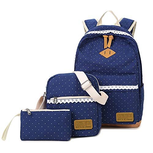 Mädchen Tasche 3 Set Daypack mit Schulrucksack, Schultertasche, Geldbeutel SKYIOL Segeltuch Tagstasche mit Punkten und Spitzen Perfekt für Schule Reise Freizeit, Dunkelblau