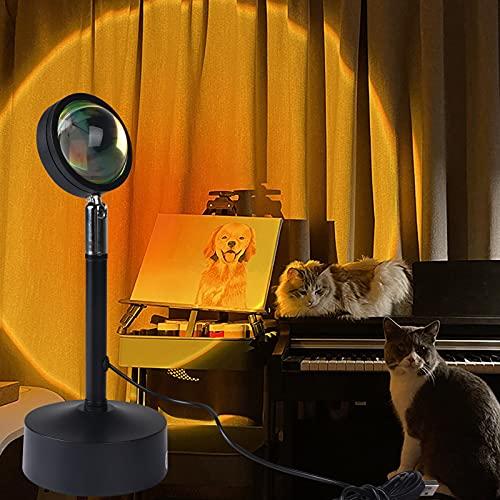 sunset lamp, Lámpara de proyección Luz LED, rotación de 180 ° Luces de proyección de puesta de sol visual románticas, proyector moderno Lámpara USB Luz de humor para fiestas en casa