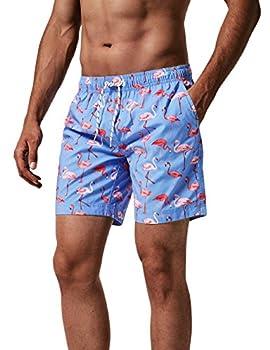 MaaMgic Mens Quick Dry Flamingo Swim Trunks With Mesh Lining Swimwear Bathing Suits,New-gma826-flamingo,L