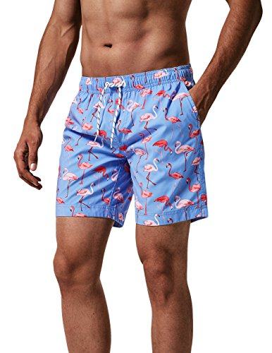 MaaMgic Mens Quick Dry Flamingo Swim Trunks With Mesh Lining Swimwear Bathing Suits,New-gma826-flamingo,L