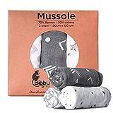 Mussole Neonato Grandi Bambu Cotone 120 X 120cm Morbide 3 Pezzi Swaddle Fasciare Bebè Bam...
