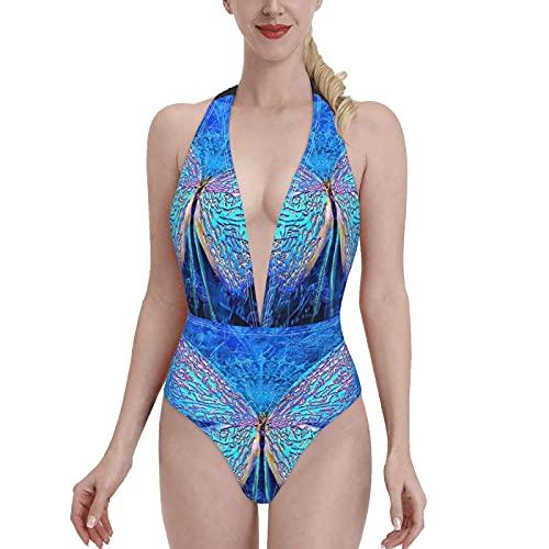 Bañadores Glittering Blue Luxury Beautiful Butterfly Bikini de una Pieza con Cuello en V para Mujer, Sujetador con Relleno, Traje de baño en la Playa S