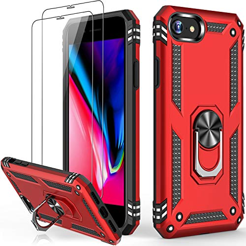 iPhone SE 2020 Case,iPhone 8 Case,iPhone 7 Case,iPhone 6 6s Case with Glass Screen Protector,Military Grade 15ft. Drop Tested Protective Phone Case with Kickstand for iPhone 6 6s/7/8/SE2 Red