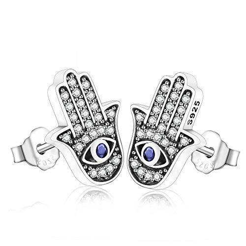Joyería de plata de ley 925 minimalista mano de Fátima Palm Evil Eye Blue Zirconia Crystal Stone Stud Pendientes para mujer
