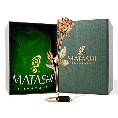 Matashi 7.5' 24K Gold Plated Long Stem Rose Flower with Premium Crystals Home Decor Showpiece for Living Room Gift for Girlfriend Wife Valentine's Day...