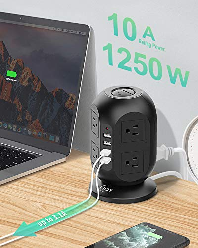 AiJoy Surge Protector Power Strip Tower 8 AC Outlet 3.1A 4 USB Ports for Fast Charging with Extension Cord 10FT