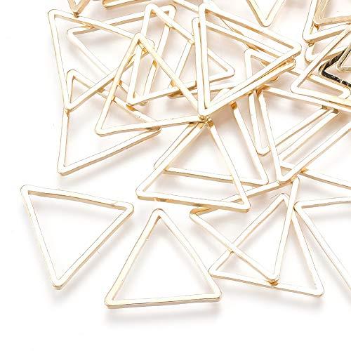 Fashewelry 50 piezas de oro claro triángulo hueco encantos pendientes rebordear aro bisel abierto colgante marco para joyería 13x15mm