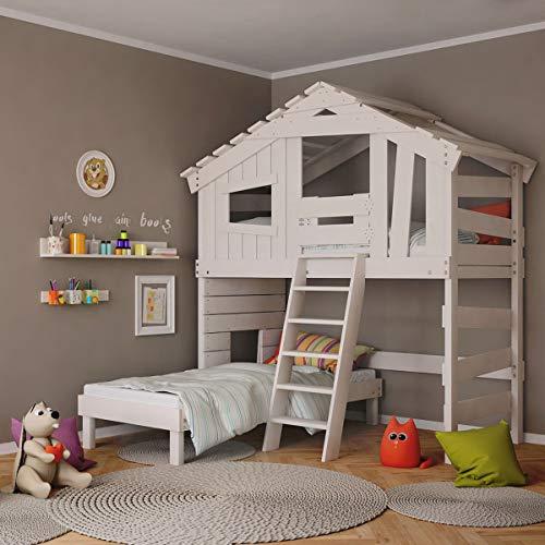 Kinderbett, Hochbett, Doppelbett, Etagenbett, Spielhaus, Spielbett in matt mild-Weiss, Massive Kiefer, Ober- und Unterbett (mit Türchen)