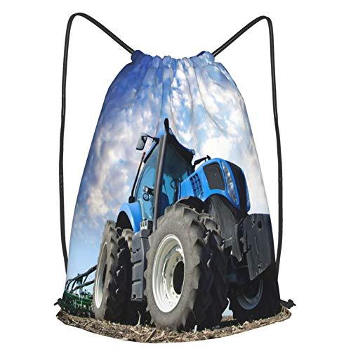 Mochilas de Cuerdas Unisex,Las ruedas del tractor Gran granjero de campo que trabaja en el trabajo de,Impermeable Mochila con Cordón,adulto Niños exterior Mochilas Casual,yoga Bolsas de Gimnasia