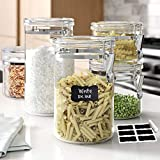 Le'raze Beautiful [Set of 5] Airtight Acrylic Canister Set For Kitchen Counter, Food Storage Container For Pantry, Tea, Sugar, Coffee, Candy, Flour Canisters with Locking Clamp Lids And Labels + Chalk Marker.
