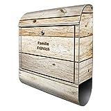 Banjado Design Briefkasten personalisiert mit Motiv Graues Holz | Stahl pulverbeschichtet mit Zeitungsrolle | Größe 39x47x14cm, 2 Schlüssel, A4 Einwurf, inkl. Montagematerial