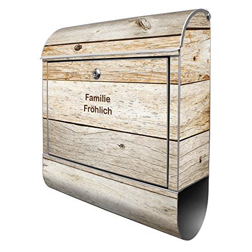 Banjado Design Briefkasten personalisiert mit Motiv Graues Holz   Stahl pulverbeschichtet mit Zeitungsrolle   Größe 39x47x14cm, 2 Schlüssel, A4 Einwurf, inkl. Montagematerial