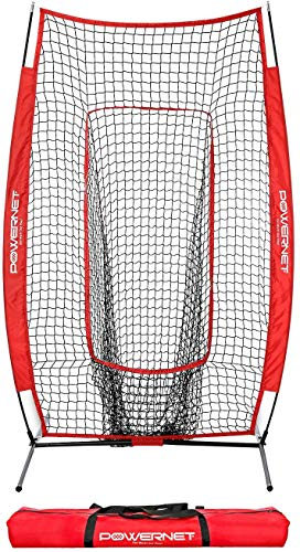 PowerNet Infielder Training Baseball Softball Net 4x7 (Red)   Throwing Fielding Training Target   Simulate Fielding Situations   Throws to First, Cutoff, Second   Portable, Easy Setup   Team Colors