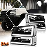 LED DRL Headlight+Bumper Lamps Assembly Set Compatible with Silverado/Avalanche 03-07,Black Housing/Clear Lens
