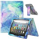 TiMOVO Folio Funda Compatible con All-New Kindle Fire HD 8 Tablet (10th Generation, 2020 Release), PU Cuero Slim Funda con Ranura para Tarjeta y Correa de Mano (Auto Sueño/Estela), Nubes de Ensueños