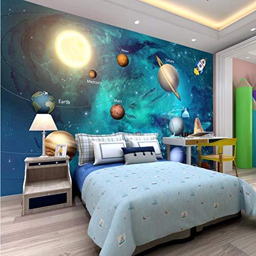 Zybnb 3D Tapeten Weltall Universum Kinderzimmer Sternenhimmel Planetenwand Papier 3D Stereo Cartoon Wandgemälde3D Fresko