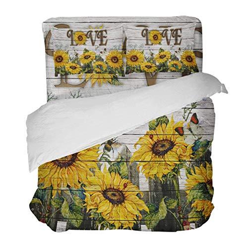 SUPERQIAO Retro Sonnenblume und Biene auf Holzplanke Bauernhof Zaun Blumen 3 Stück Bettbezug Set mit dekorativen 2 Kissen Shams Tagesdecke Bettwäsche