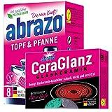 abrazo Topf & Pfanne Reinigungskissen Reinigungs-Schwamm + abrazo CeraGlanz Glaskeramik Herdreiniger...