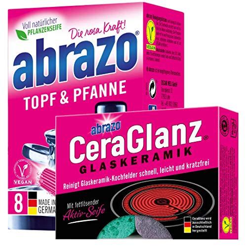 abrazo Topf und Pfanne Reinigungskissen Reinigungs-Schwamm + abrazo CeraGlanz Glaskeramik Herdreiniger Fettlöser Seife antibakteriell